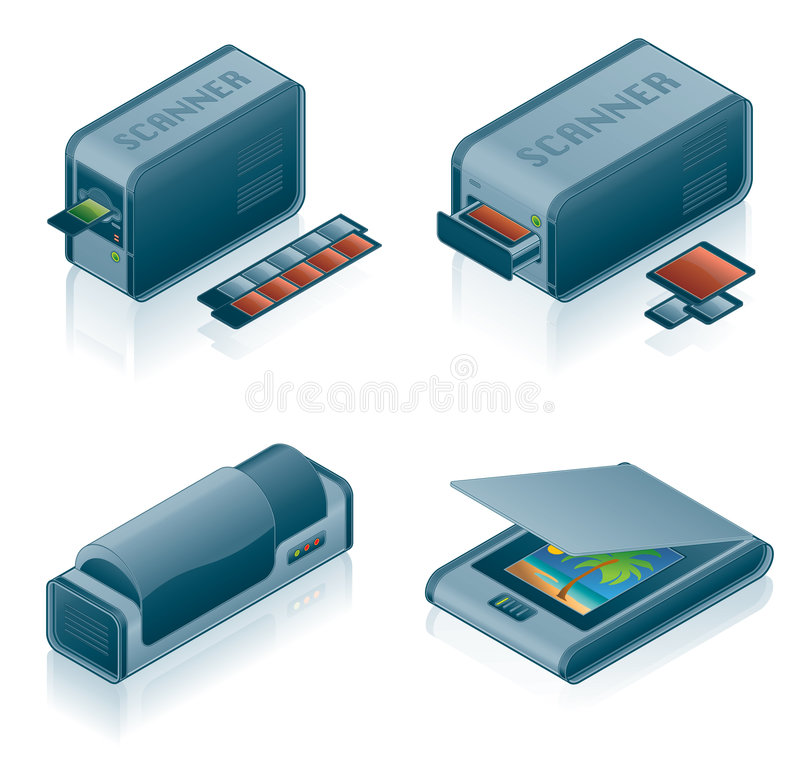 Computer Hardware Icons Set. Design Elements 5h, it's a high resolution image with CLIPPING PATH for easy remove unwanted shadows underneath vector illustration