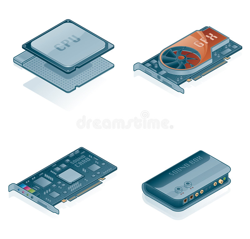 Computer Hardware Icons Set. Design Elements 55j, it's a high resolution image with CLIPPING PATH for easy remove unwanted shadows underneath royalty free illustration