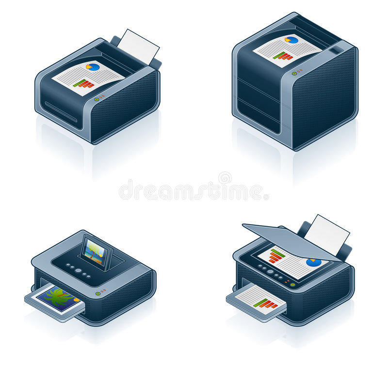 Computer Hardware Icons Set royalty free illustration