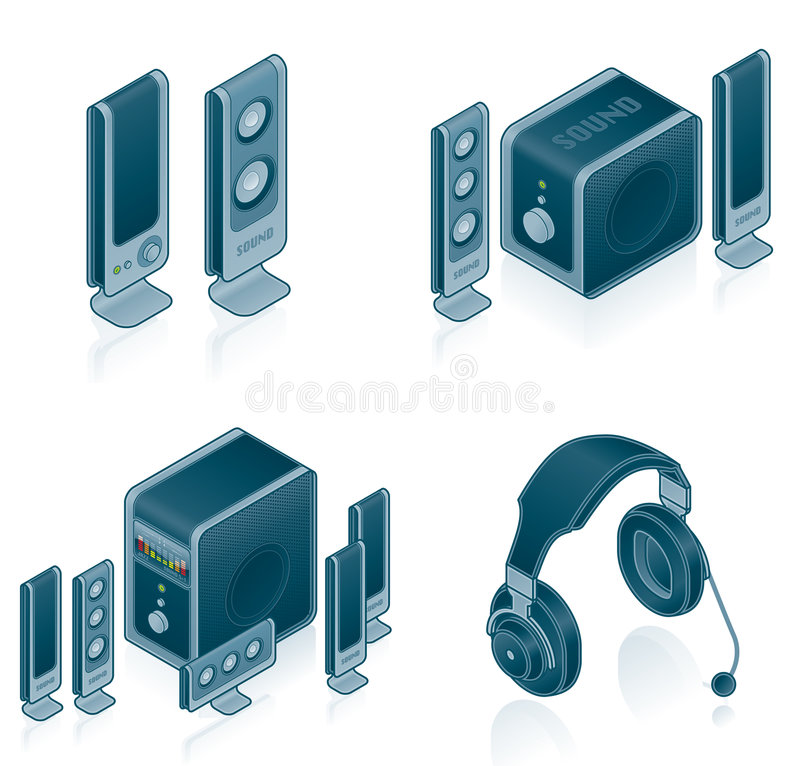 Computer Hardware Icons Set. Design Elements 57c, it's a high resolution image with CLIPPING PATH for easy remove unwanted shadows underneath royalty free illustration