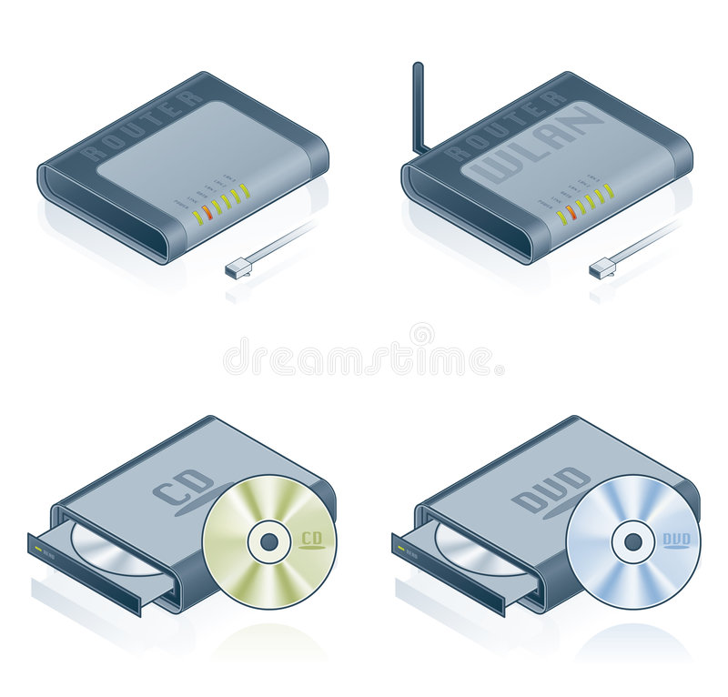 Computer Hardware Icons Set - Design Elements 55b. It's a high resolution image with CLIPPING PATH for easy remove unwanted shadows underneath stock illustration