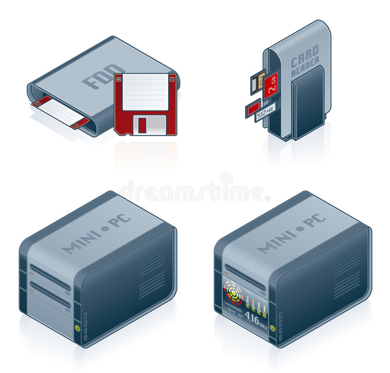 Computer Hardware Icons Set - Design Elements 55c. It's a high resolution image with CLIPPING PATH for easy remove unwanted shadows underneath vector illustration