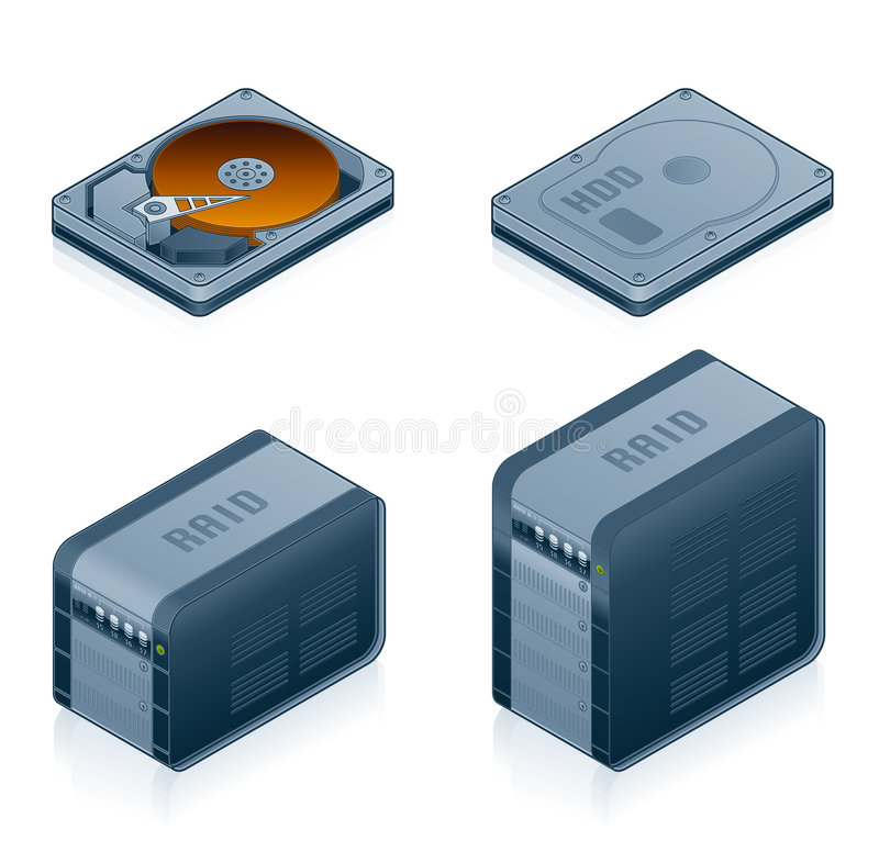 Computer Hardware Icons Set - Design Elements 55d. It's a high resolution image with CLIPPING PATH for easy remove unwanted shadows underneath royalty free illustration
