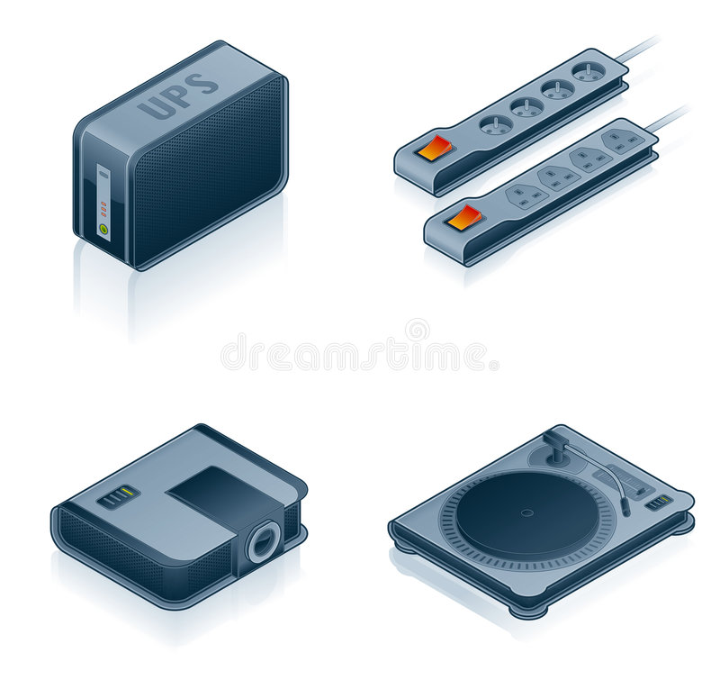 Computer Hardware Icons Set - Design Elements 55i. It's a high resolution image with CLIPPING PATH for easy remove unwanted shadows underneath royalty free illustration