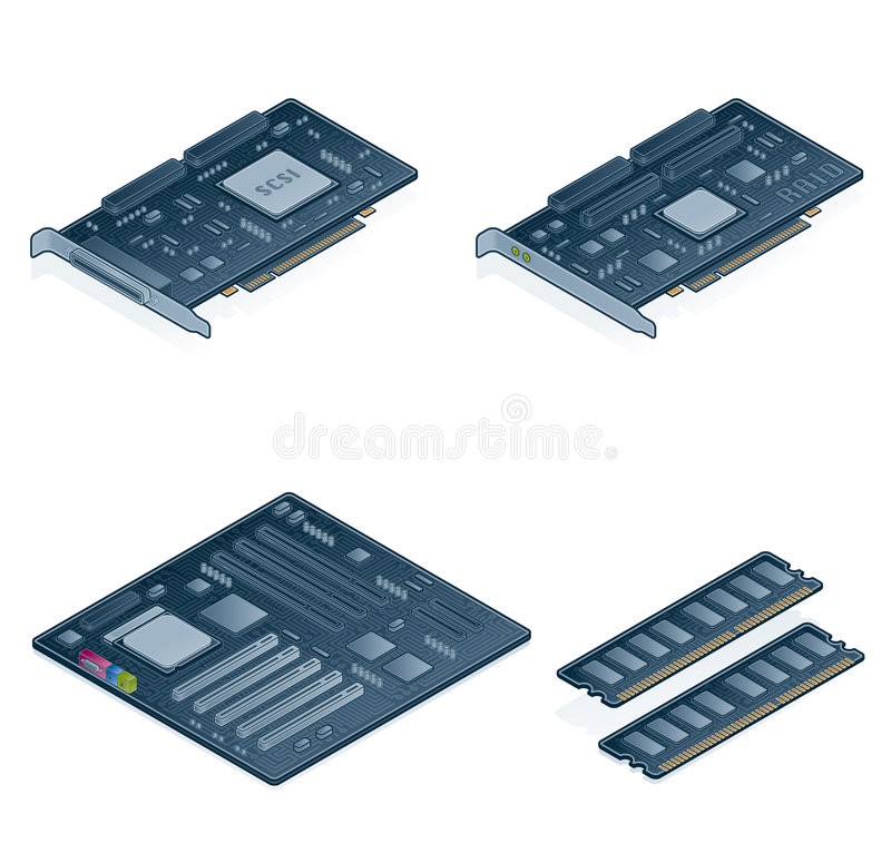 Computer Hardware Icons Set - Design Elements 55n. It's a high resolution image with CLIPPING PATH for easy remove unwanted shadows underneath vector illustration