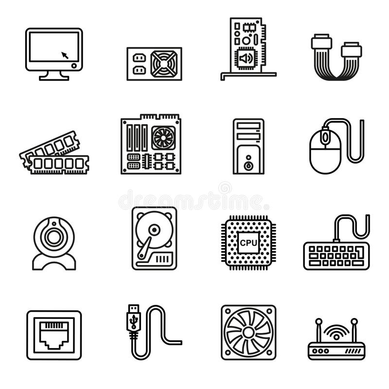 Computer hardware icons set. Computer Hardware Icons. PC Components Icons. Line Style stock vector vector illustration