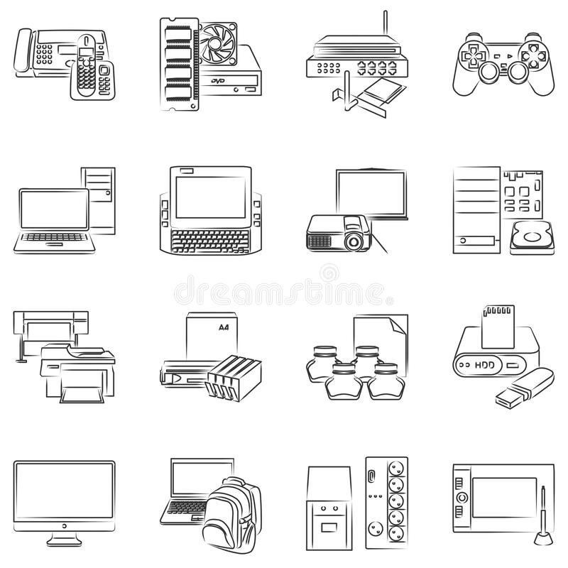 Download Computer hardware icons stock vector. Image of office - 47362381