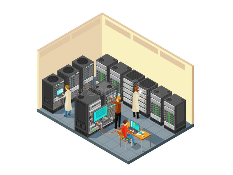 Computer hardware in network server room with staff. Isometric security center vector illustration. Database server network internet stock illustration