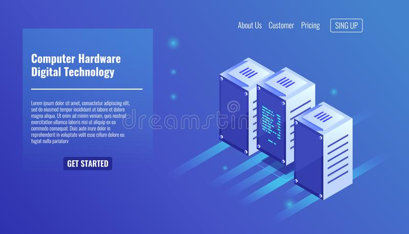 Computer hardware, server room, rack, digital technology, data center, three computer stay on row isometric vector. Illustration royalty free illustration