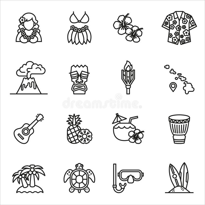Tropical summer, hawaii icon set. Thin Line Style stock vector. royalty free illustration