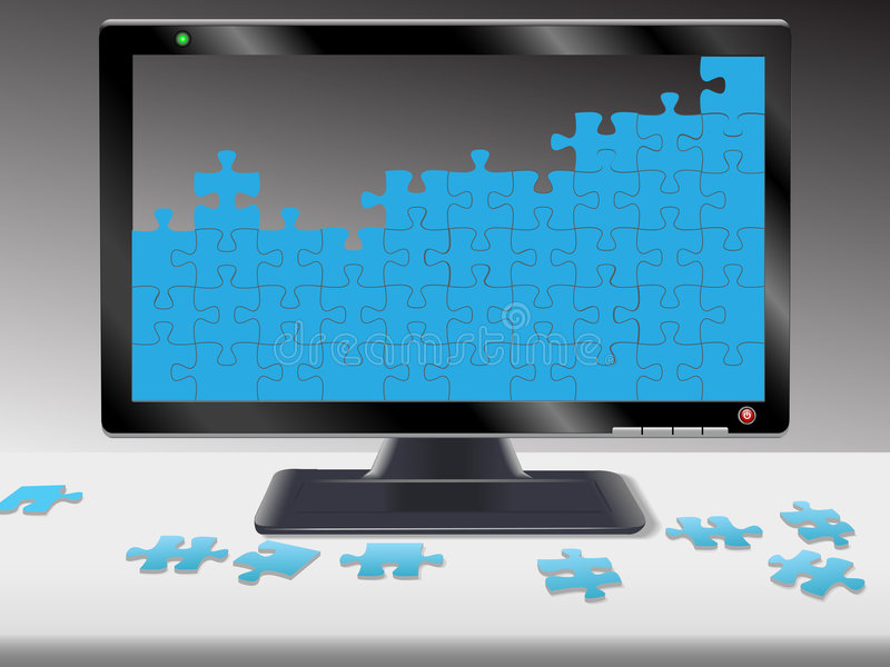 Computer or HDTV Monitor Jigsaw Puzzle. Jigsaw puzzle pieces on a computer monitor or HDTV and desk: help; problems; solutions; data; network; etc royalty free illustration