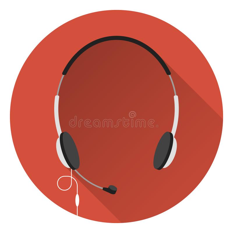Computer headphones with microphone, orange background, flat style, icon. vector illustration