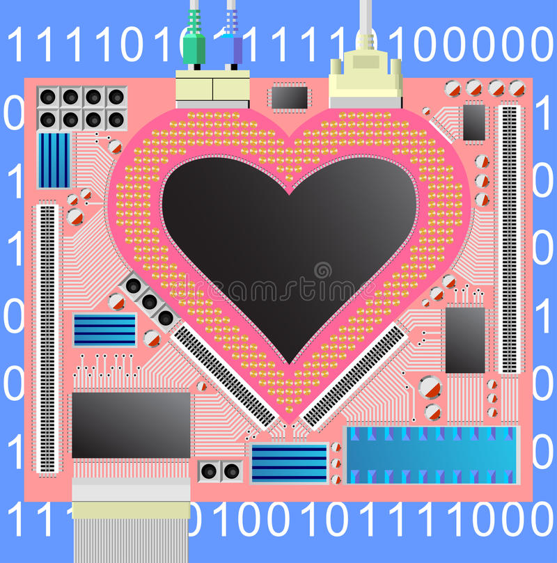 Download Computer heart stock vector. Image of microchip, data - 16892532