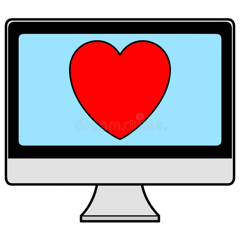 Computer with Heart stock illustration