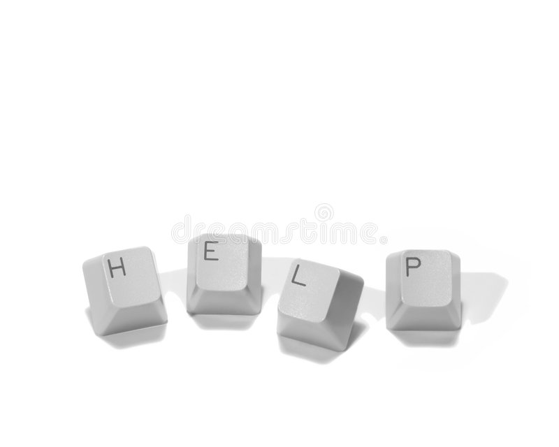 Computer Help Keys. Isolated on White royalty free stock photography