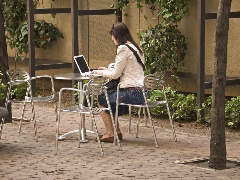 Computer in het Park royalty-vrije stock afbeeldingen