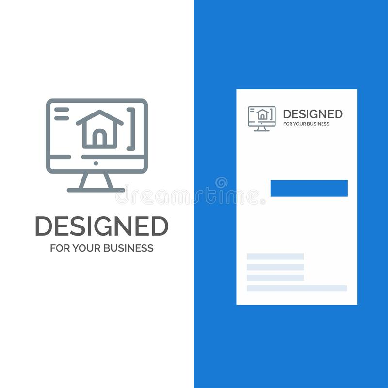Computer, Home, House Grey Logo Design and Business Card Template royalty free illustration