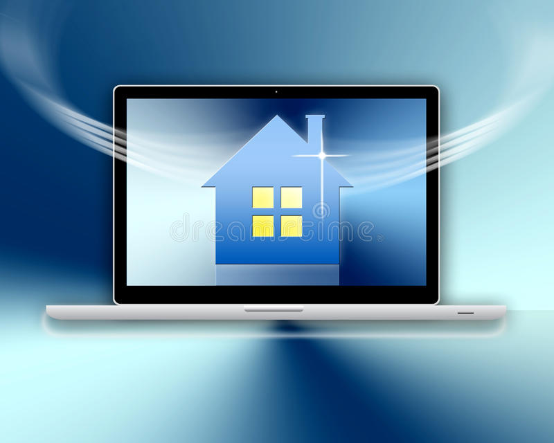 Computer Homepage. An image showing a laptop computer homepage on a graded colour or color background with white light effects over the top of the image of the stock illustration