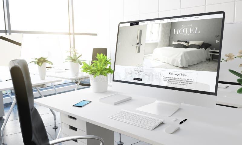 computer office luxury hotel royalty free illustration