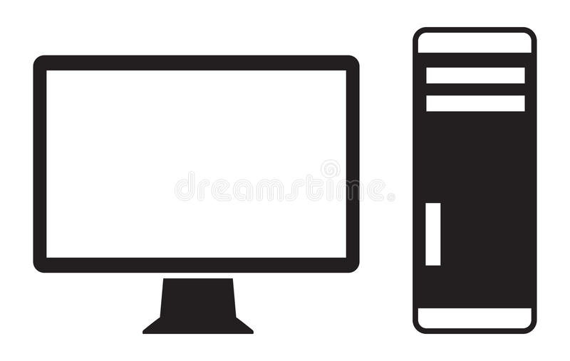 Computer icon. Vector icon of high-end computer royalty free illustration