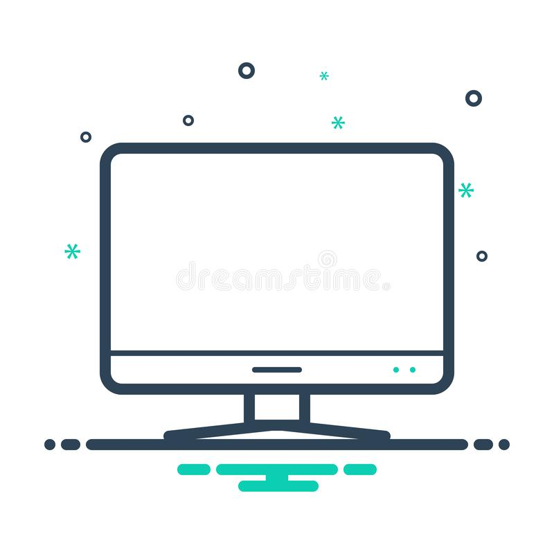 Black mix icon for Computer, monitor and tv. Black mix icon for Computer, screen, television, gadget, logo,  monitor and tv royalty free illustration