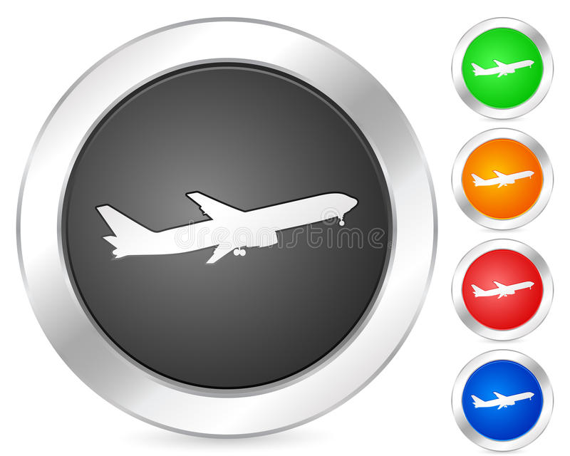 Computer icon airplane. Computer circle icon set. Vector illustration vector illustration
