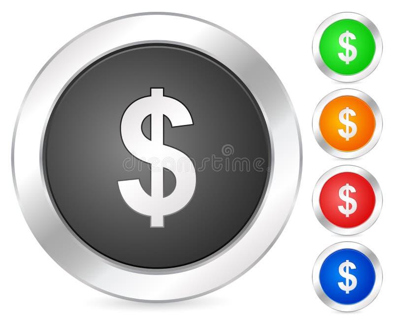 Computer icon dollar. Computer circle icon set. Vector illustration vector illustration