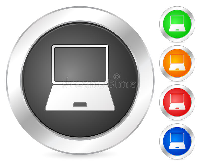 Computer icon laptop. Computer circle icon set. Vector illustration