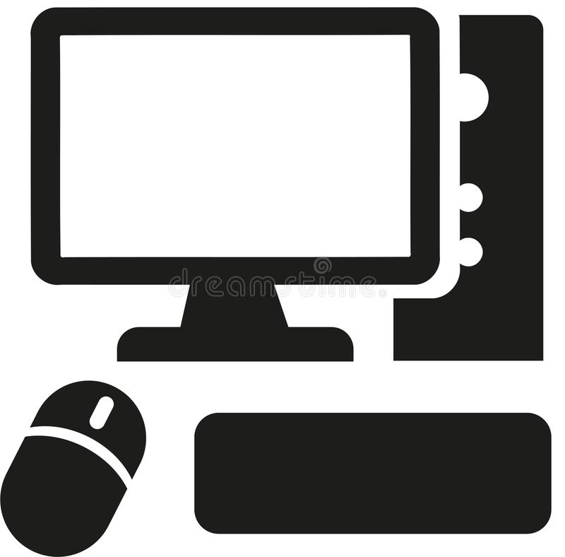Computer icon with mouse and keyboard vector illustration