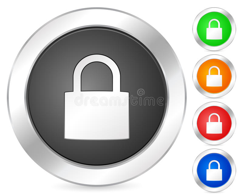 Computer icon padlock. Computer circle icon set. Vector illustration stock illustration