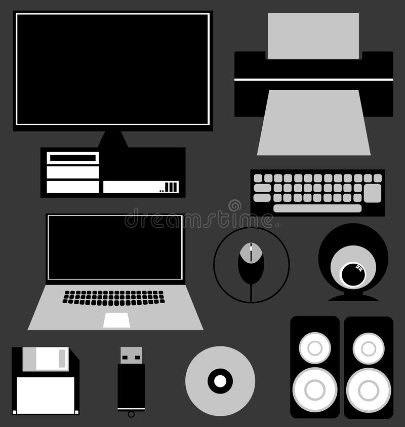 Download Computer Icon Set stock vector. Image of equipment, business - 31280009