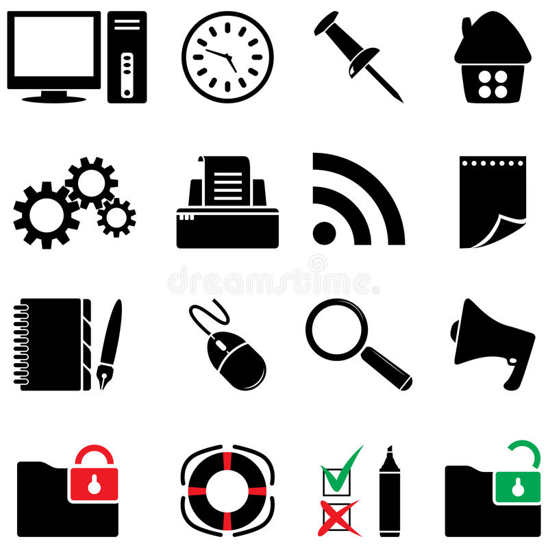 Computer icon set (black and white colors) stock illustration