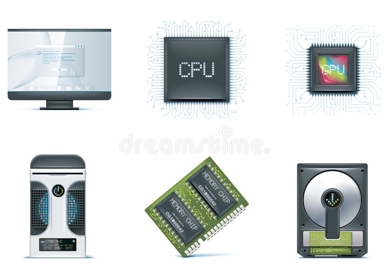 Computer icon set. Part 1 stock illustration