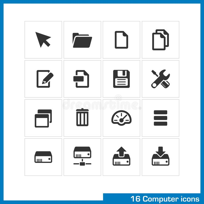 Computer icon set. Vector black pictograms for web and mobile apps, internet, interface design. cursor, folder, file copy, edit, save, settings, network drive royalty free illustration