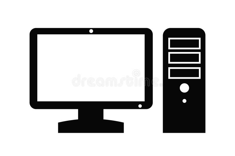 Computer icon. Vector black Computer icon on white background royalty free illustration