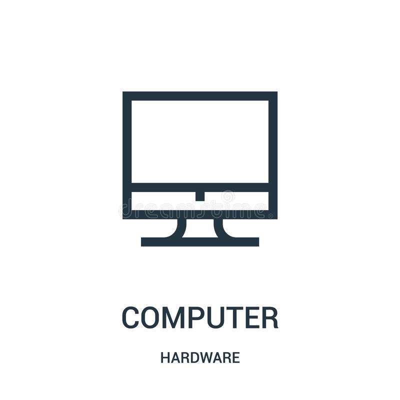 computer icon vector from hardware collection. Thin line computer outline icon vector illustration royalty free illustration