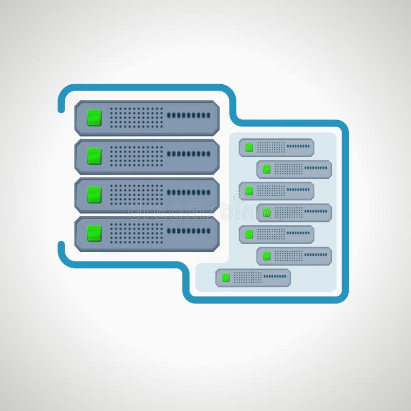 Computer icon Virtual server. design element. Illustration stock illustration