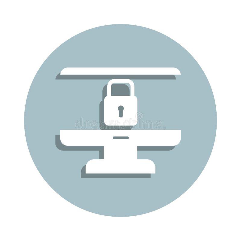 Computer, icona del badge di sicurezza Gglifo semplice, vettore piatto di icone gdpr per ui e ux, sito Web o applicazione mobile illustrazione di stock