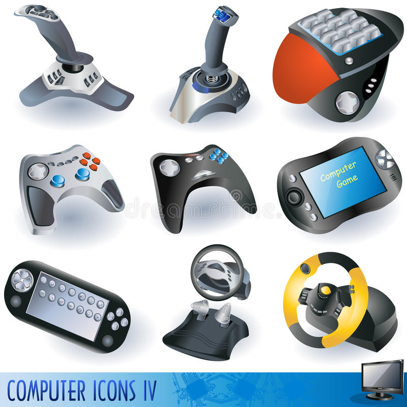 Computer icons 4. A collection of computer icons, gaming devices royalty free illustration
