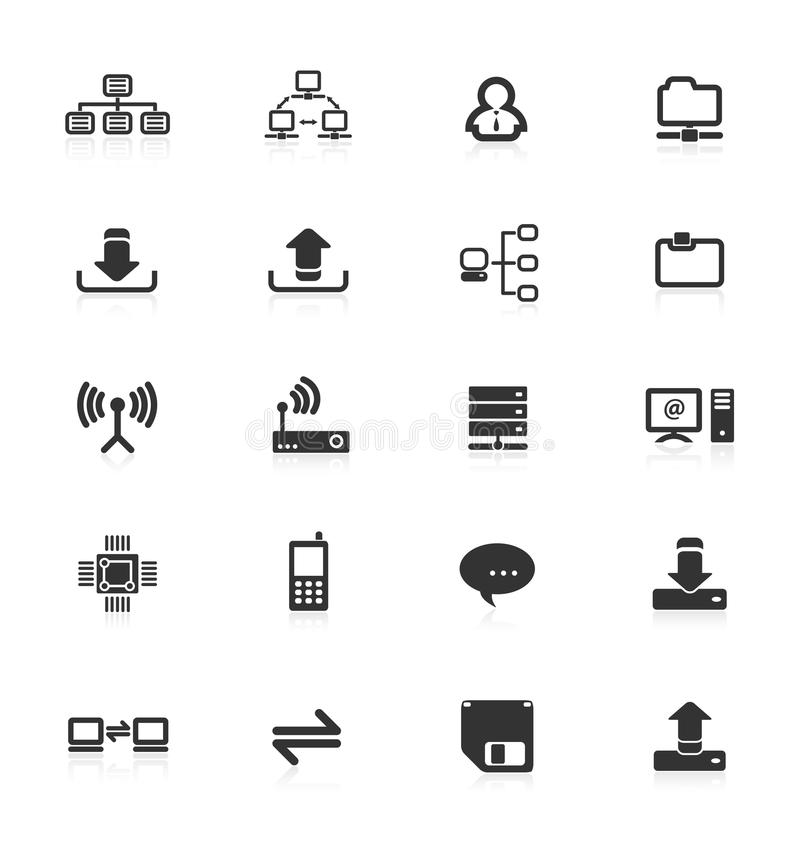 Computer server equipment mobile phone icons icon upload download files folder file CPU storage router technology web internet set royalty free illustration