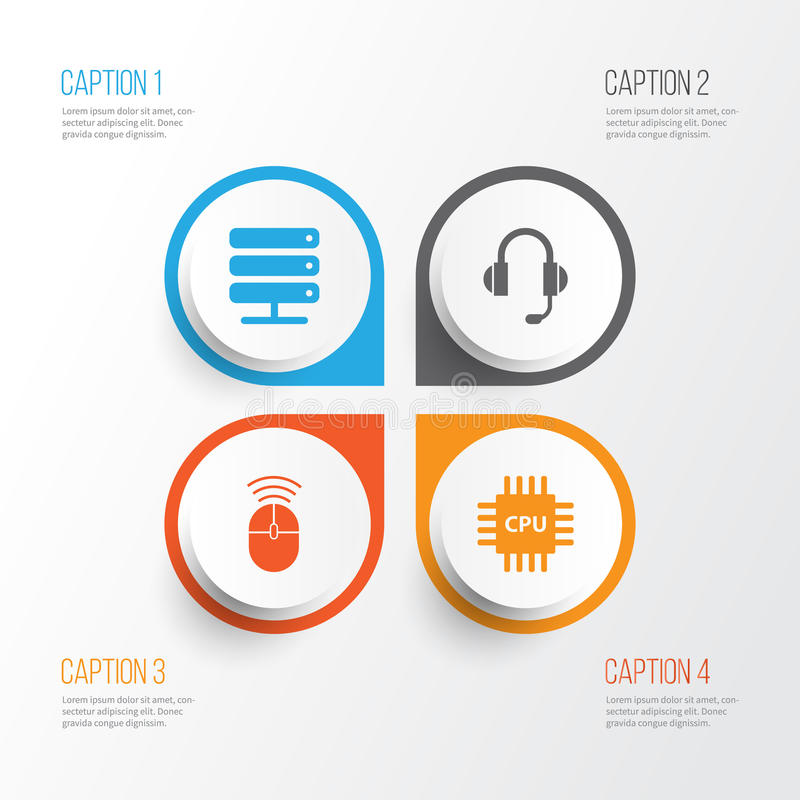 Computer Icons Set. Collection Of Motherboard. Computer Mouse, Earphone And Other Elements stock illustration