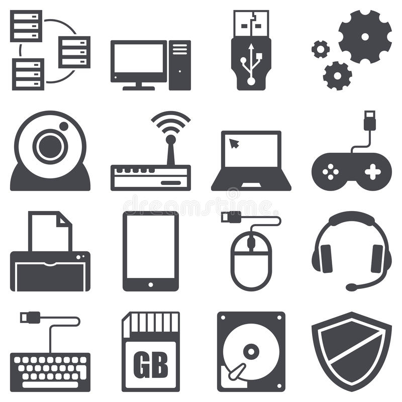 Computer icons. Icons set about computer and technology concept vector illustration