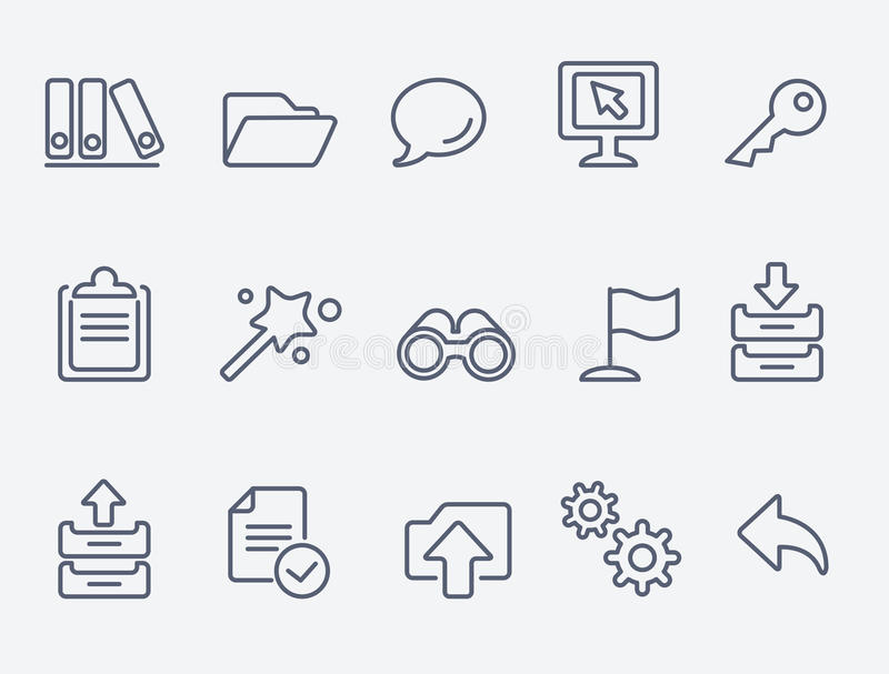 Computer icons. Thin lines. Flat design royalty free illustration