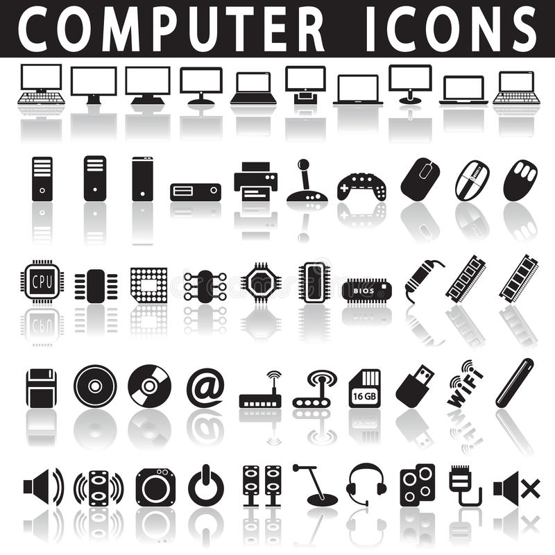 Computer icons. On a white background with a shadow stock illustration