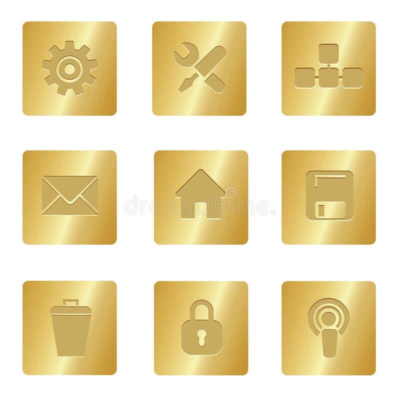 Computer-Ikonen | Bronzequadrat 02 lizenzfreie abbildung