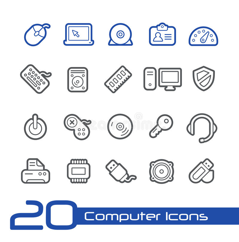 Computer-Ikonen//-Linie Reihe lizenzfreie abbildung