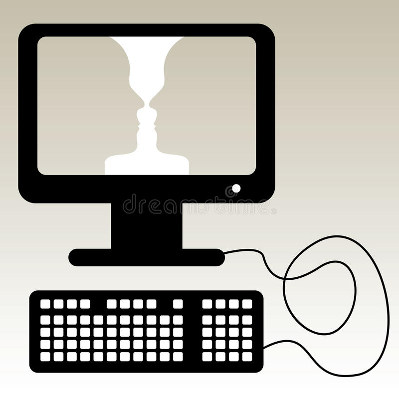 Computer illustration. With faces in screen stock illustration