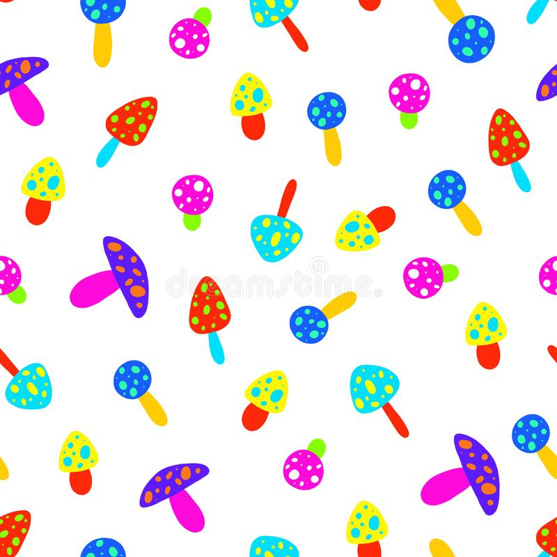 Free Computer Illustration Of Mushroom Seamless Pattern On White Background Royalty Free Stock Image - 123041926