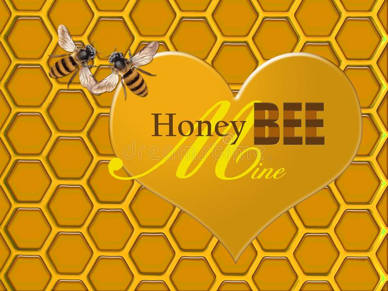 Honey Bee Mine Valentine art of a gold honeycomb with heart and bees royalty free illustration