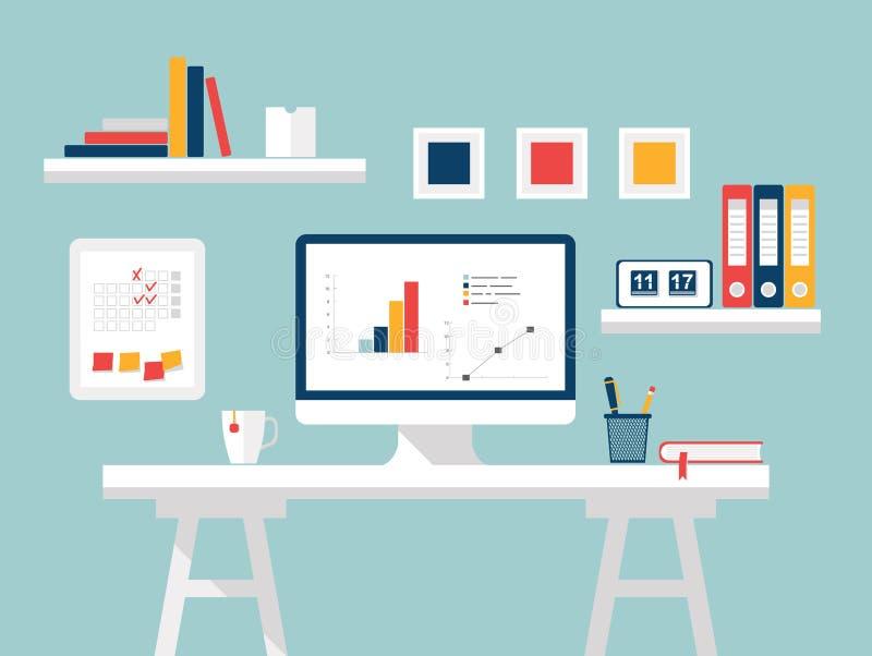 Computer im weißen Hintergrund Flache Designvektorillustration des modernen Innenministeriuminnenraums mit dem Designerdesktop un lizenzfreie abbildung